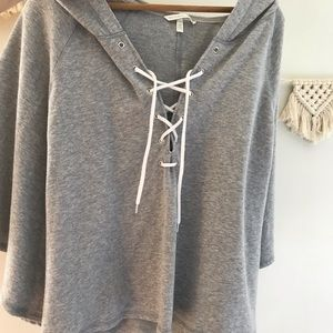 Victoria secret grey sweatshirt lace up cape • XL